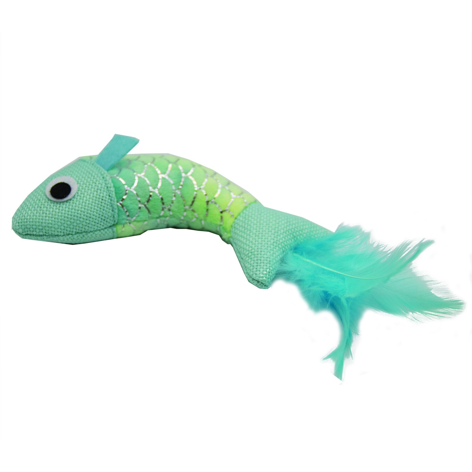 Fiskfjällsmönstrad Fisk med små fjädrar - Grön/Silver