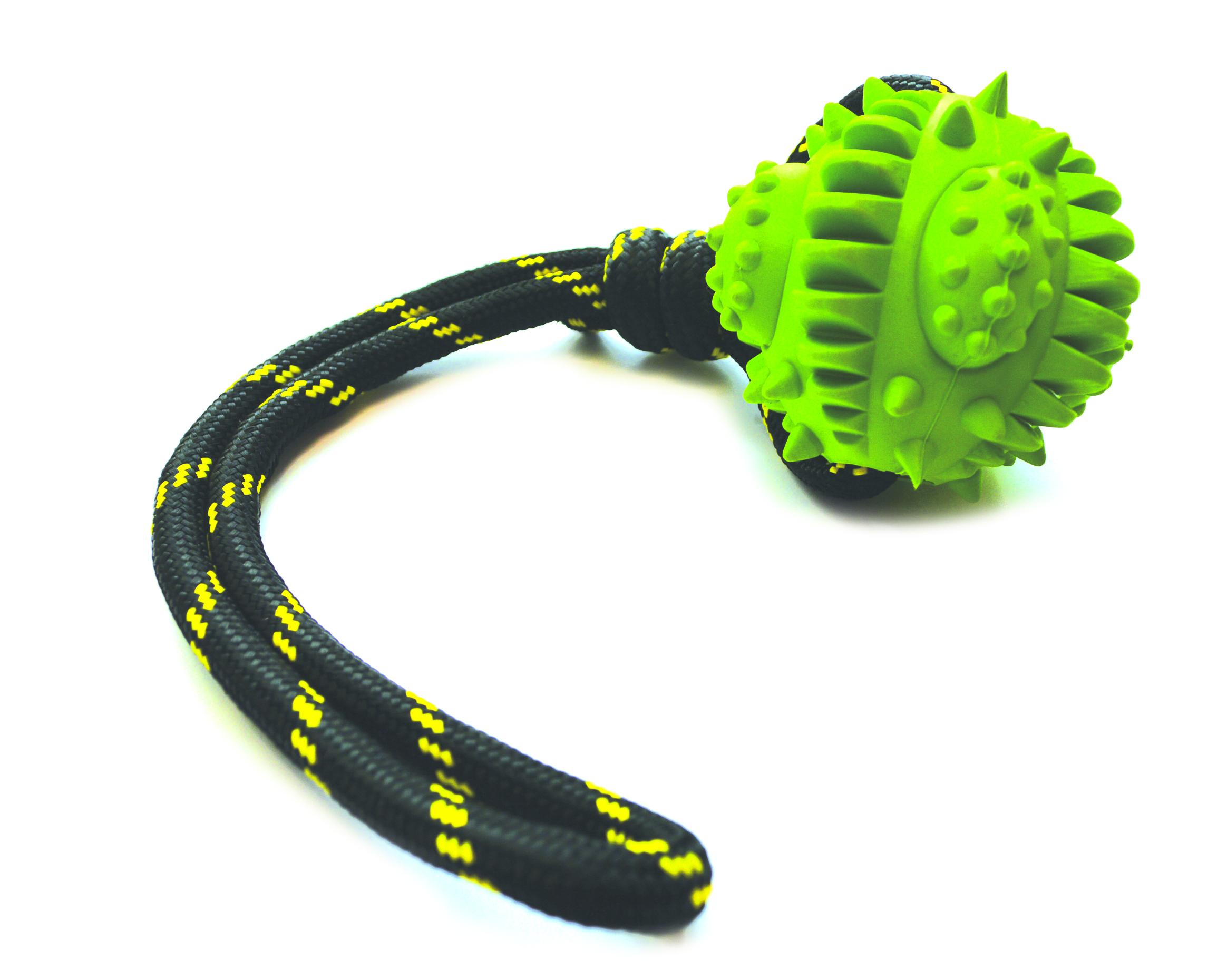 Gummiboll med piggar och rep