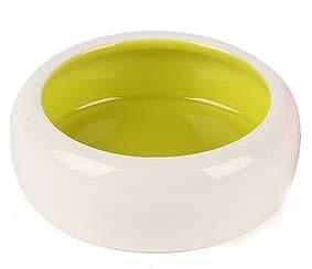 Tvåfärgad kattskål i keramik - Grön
