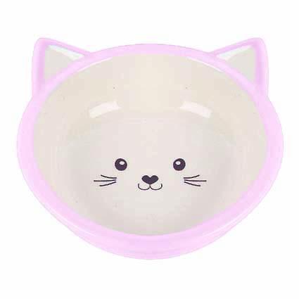 Kattskål i keramik - Rosa