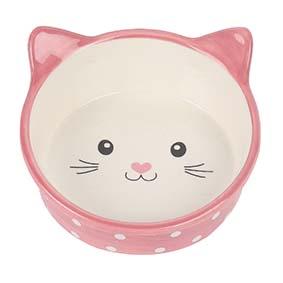 Prickig kattskål i keramik - Rosa