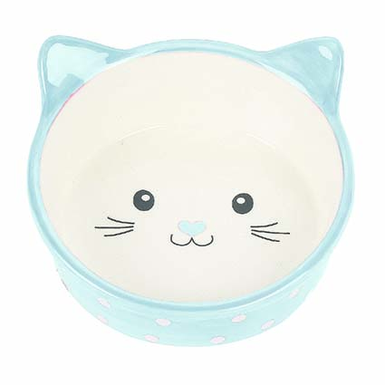 Prickig kattskål i keramik - Blå