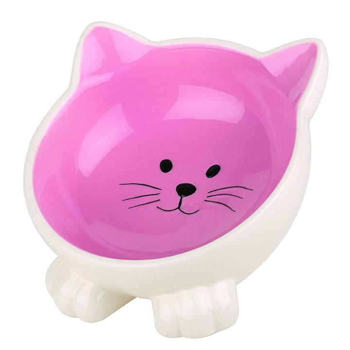 Kattformad kattskål i keramik - Rosa