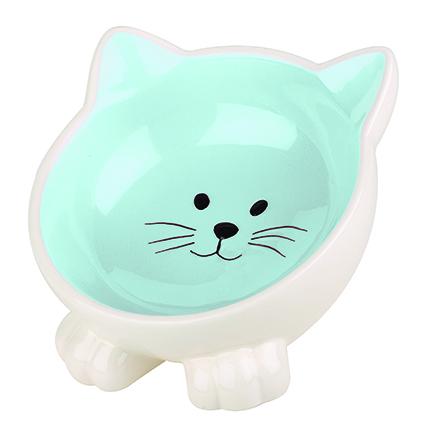 Kattformad kattskål i keramik - Blå
