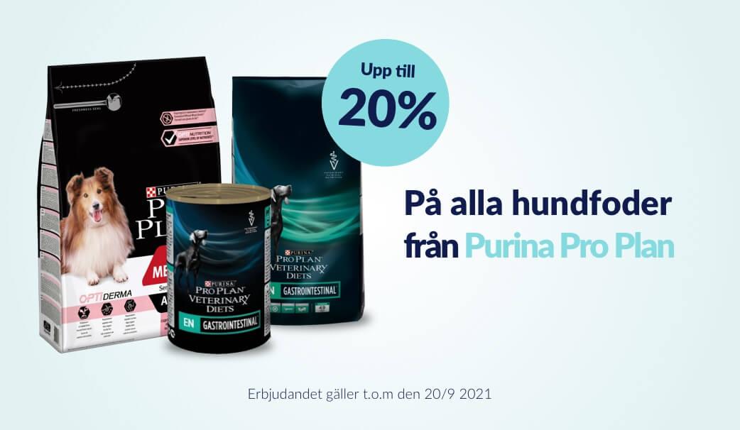 Upp till 20 % rabatt på alla Hundfoder från Purina Pro Plan