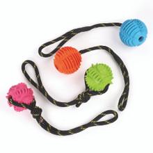 Knottrig gummiboll med rep