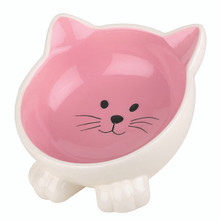 Kattformad kattskål i keramik