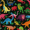 Black & Multicoloured Dinosaurs 100% Cotton (Dancing Dinosaurs - Black)
