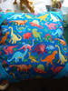 Blue & Multicoloured Dinosaurs 100% Cotton (Dancing Dinosaurs - Blue)