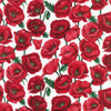 Red Poppies On White 100% Cotton (Poppy Blossom - White)