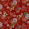 Japanese Metallic Floral Red 100% Cotton (Japanese Floral - Red)