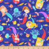 Studio e's Mermaids & Fish Swimming Blue 100% Cotton Remnant (38 x 112cm SE Mermaids Rock 2)