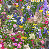 Timeless Treasures Meadow Cats Floral Multicoloured 100% Cotton (TT Meadow Cats)