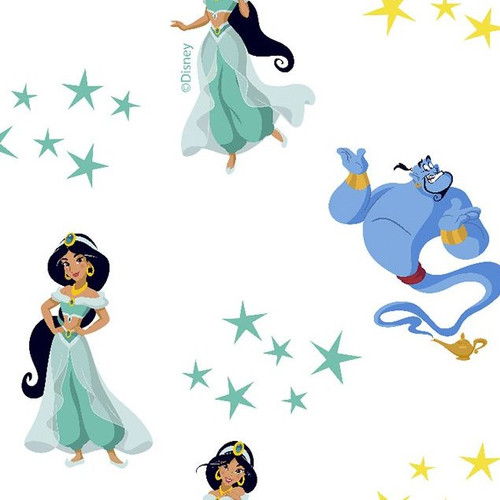 Disney Aladdin Digital White 100% Cotton Remnant (45 x 150cm Aladdin 12)