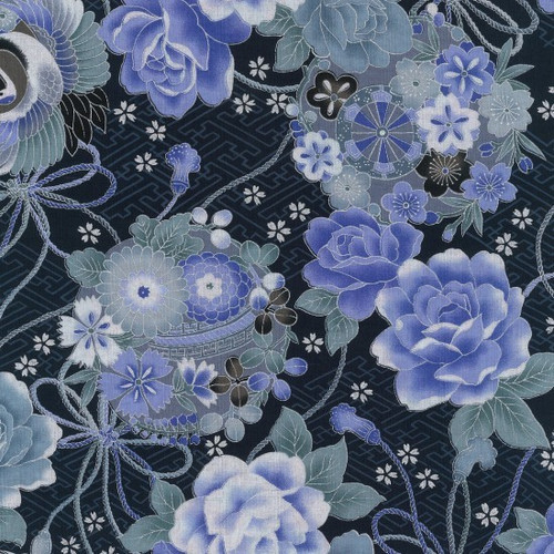 Japanese Navy Floral with Oriental Pots 100% Metallic Cotton Remnant (52 x 112cm Japanese Toto 2)