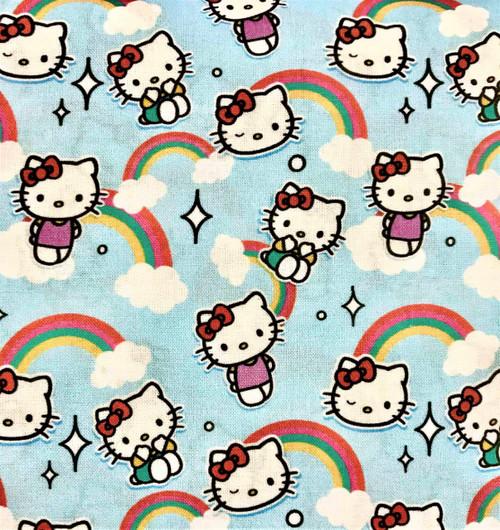 Digital Hello Kitty Rainbows Sky Blue 100% Cotton Remnant (66 x 150cm Hello Kitty 2)