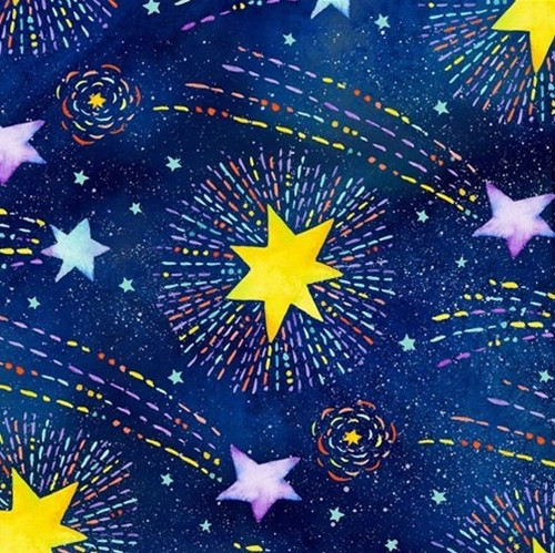 Henry Glass & Co. Stay Wild Moon Child Shooting Stars Navy 100% Cotton (HG Stay Wild 6)