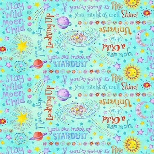 Henry Glass & Co. Stay Wild Moon Child Space Words Aqua 100% Cotton (HG Stay Wild 8)