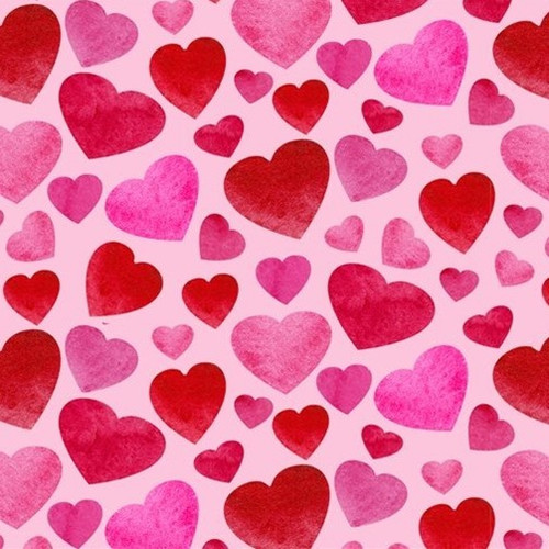 Henry Glass & Co. Heart & Soul Small Hearts Allover Red Pink 100% Cotton (HG Heart & Soul 2)