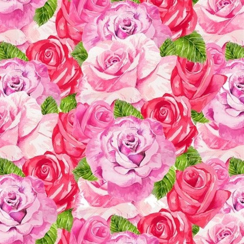 Henry Glass & Co. Heart & Soul Roses Pink 100% Cotton (HG Heart & Soul 5)