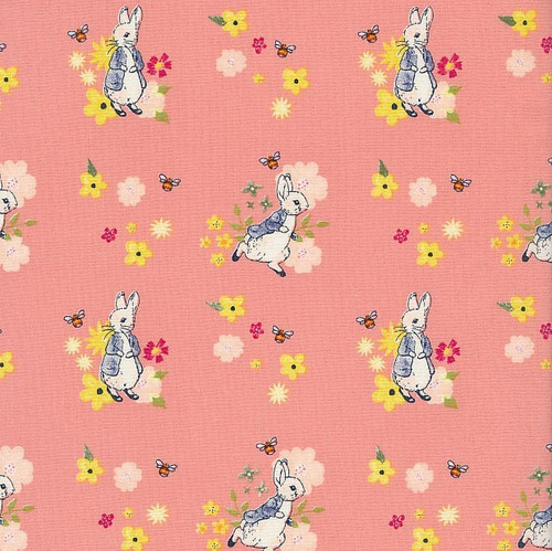 Frederick Warne & Co Peter Rabbit Floral Bees Pink 100% Cotton (Peter Rabbit 18)