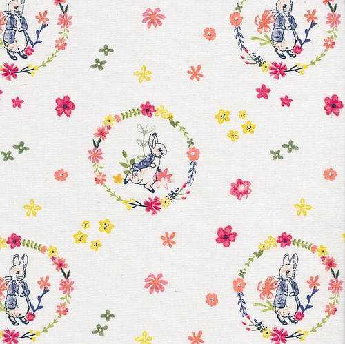 Frederick Warne & Co Peter Rabbit Floral Wreath White 100% Cotton (Peter Rabbit 19)