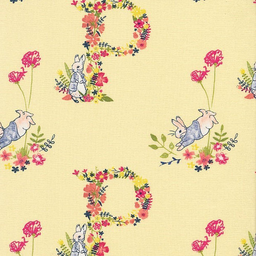 Frederick Warne & Co Peter Rabbit Floral Letter P Yellow 100% Cotton (Peter Rabbit 21)