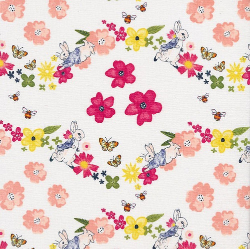 Frederick Warne & Co Peter Rabbit Larger Floral White 100% Cotton (Peter Rabbit 22)