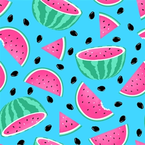 Blank Quilting's Pool Party Watermelons Blue 100% Cotton Remnant (39 x 112cm BQ Pool Party)