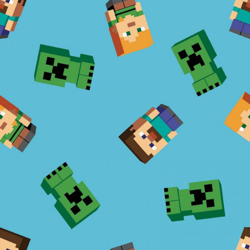 Springs Creative Mojang Minecraft Friends Creepers Blue 100% Cotton Remnant (65 x 112cm Minecraft 2)