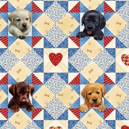 Henry Glass & Co. Pups In The Garden Puppy Quilt Blue 100% Cotton Remnant (57 x 112cm HG Pups In The Garden 3)