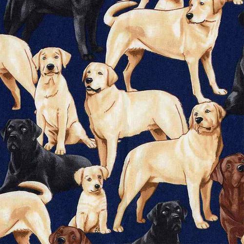 Timeless Treasures Labrador Dogs Navy Blue 100% Cotton Remnant (36 x 112cm TT Labradors)