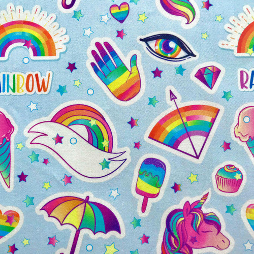 The Vintage Sweetheart Rainbow Magic Patches Blue 100% Cotton (VS Rainbow Magic -1 METRE PIECE)