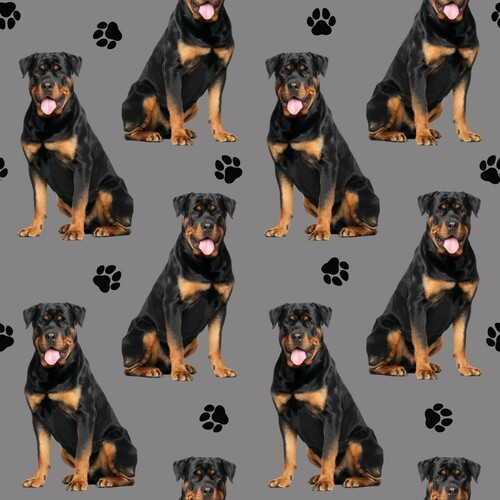 PREORDER: The Vintage Sweetheart Rottweiler Dogs Grey 100% Cotton (VS Rottweiler PREORDER by half metre)