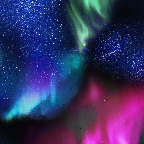 Timeless Treasures Northern Lights Aurora Night Sky Multicoloured 100% Cotton Remnant (46 x 112cm TT Aurora Sky)