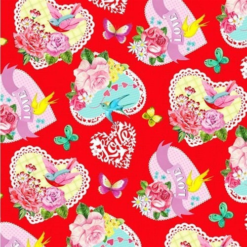Henry Glass & Co. Heart & Soul Lace Hearts Birds Red 100% Cotton Remnant (51 x 112cm HG Heart & Soul 6)