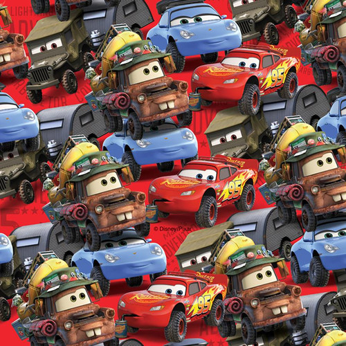 Chatham Glyn Disney Cars Multicoloured Red 100% Cotton Remnant (50 x 140cm CG Cars)