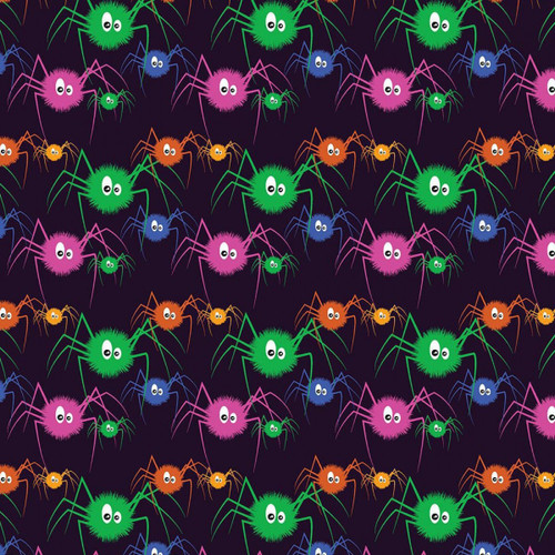 Chatham Glyn Spooky Spiders Halloween Black 100% Cotton Remnant (50 x 140cm CG Spooky Spiders)