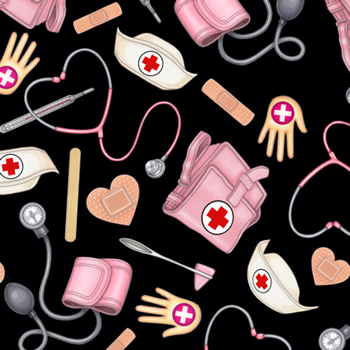 Quilting Treasures What The Doctor Ordered Medical Black 100% Cotton Remnant (50 x 110cm QT Medical 1)