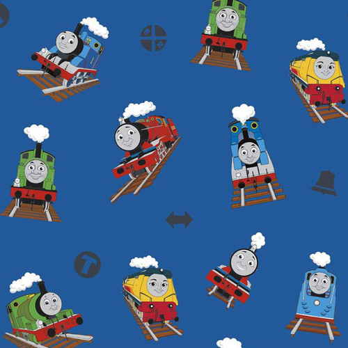 Riley Blake All Aboard With Thomas And Friends Trains Blue 100% Cotton (Thomas The Tank Engine 6)