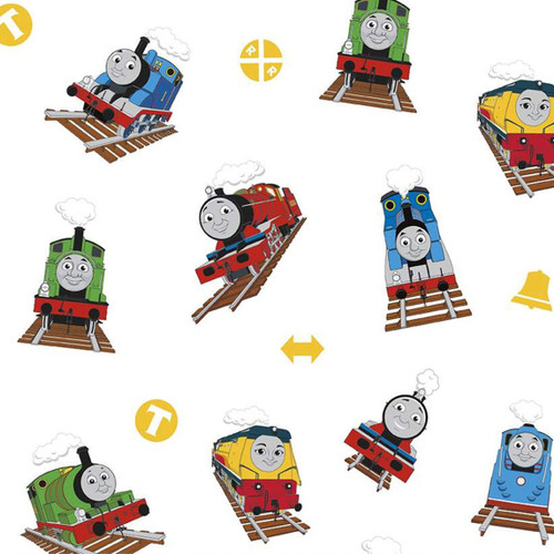 Riley Blake All Aboard With Thomas And Friends Trains White 100% Cotton (Thomas The Tank Engine 7)