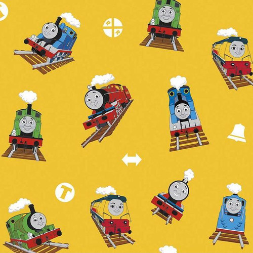 Riley Blake All Aboard With Thomas And Friends Trains Yellow 100% Cotton (Thomas The Tank Engine 8)
