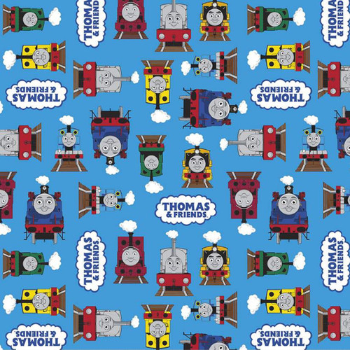 Riley Blake All Aboard With Thomas And Friends Train Friends Together Blue 100% Cotton (Thomas The Tank Engine 9)