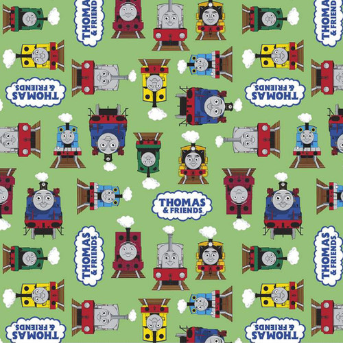 Riley Blake All Aboard With Thomas And Friends Train Friends Together Green 100% Cotton (Thomas The Tank Engine 10)