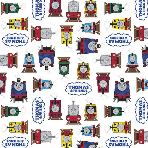 Riley Blake All Aboard With Thomas And Friends Train Friends Together White 100% Cotton (Thomas The Tank Engine 11)
