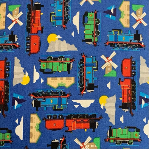 Riley Blake All Aboard With Thomas And Friends Sodor Island Blue 100% Cotton (Thomas The Tank Engine 12)