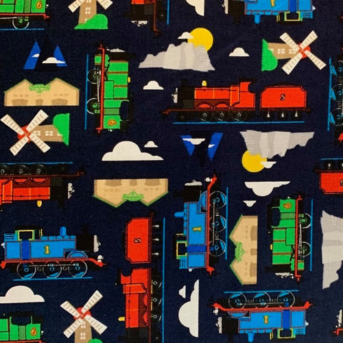 Riley Blake All Aboard With Thomas And Friends Sodor Island Navy 100% Cotton (Thomas The Tank Engine 13)