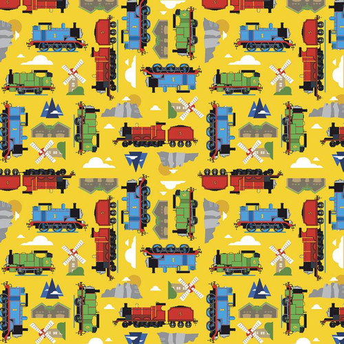 Riley Blake All Aboard With Thomas And Friends Sodor Island Yellow 100% Cotton (Thomas The Tank Engine 14)