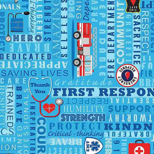 Timeless Treasures Everyday Heroes First Responders Blue 100% Cotton (TT First Responders)