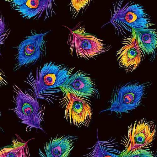 Timeless Treasures Glow Tossed Rainbow Peacock Feathers Black 100% Cotton (TT Glow 1)